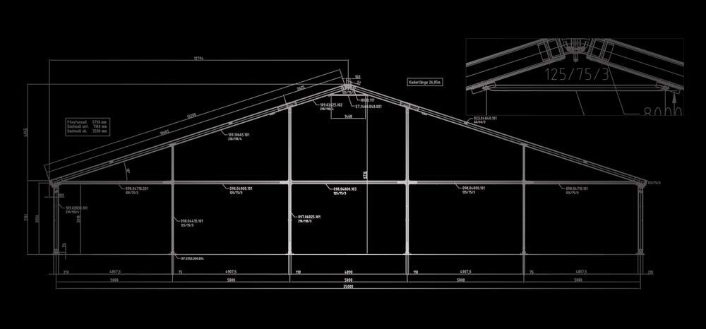 Plan structure bi-pentes